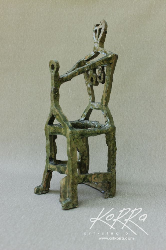 Radko Sergey, Woman on a chair, 2015, fired clay, glaze, 37x10x14