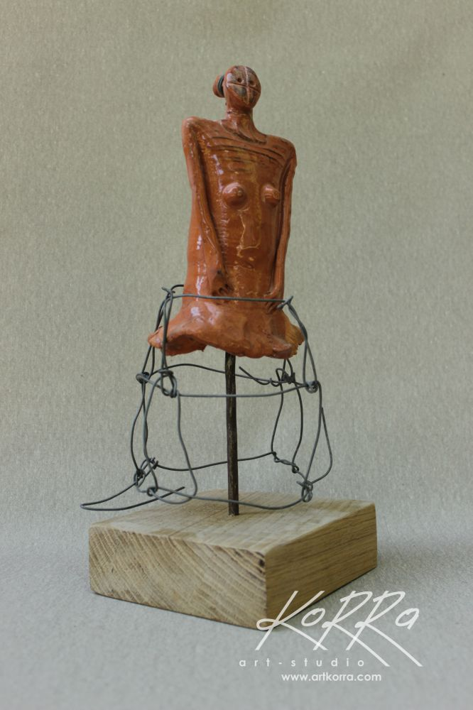 Radko Sergey, Girl in Skirt, 2015, Burnt Clay, Glaze, 36x14x15