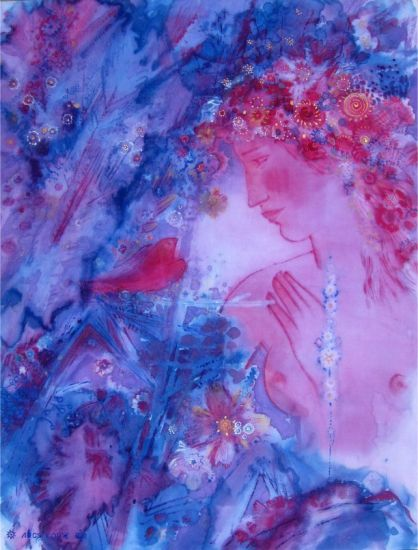 Korzh Lesya, Girl and Bird 2011, batik, painting acrylic, 73 x 57