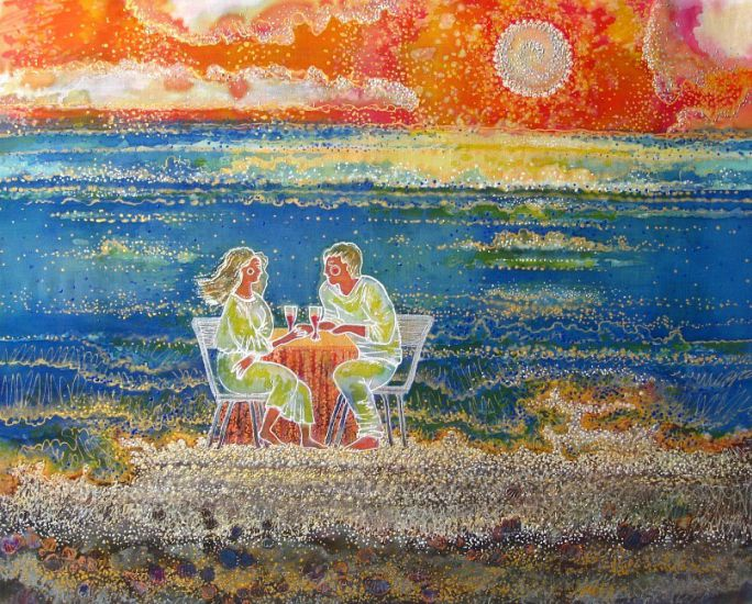 Korzh Lesya, Lovers by the sea, 2011, batik, painting acrylic, 50 x 60