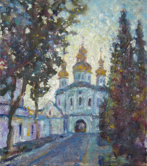 Korzh Lesya, Kiev-Pechersk Lavra. Church of All Saints, 2013, oil on canvas, 25 x 22