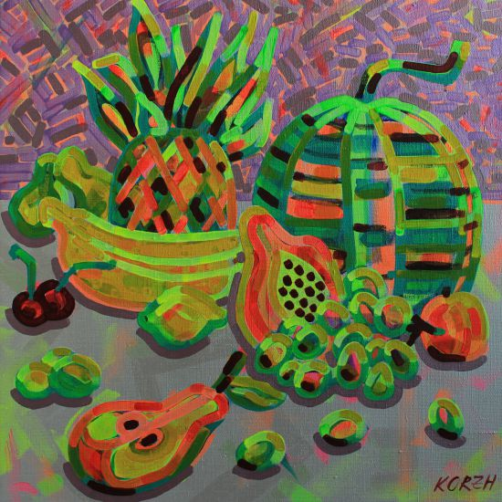 Korzh Taras, Fruit and berry, 2016, canvas, acrylic, 60x60