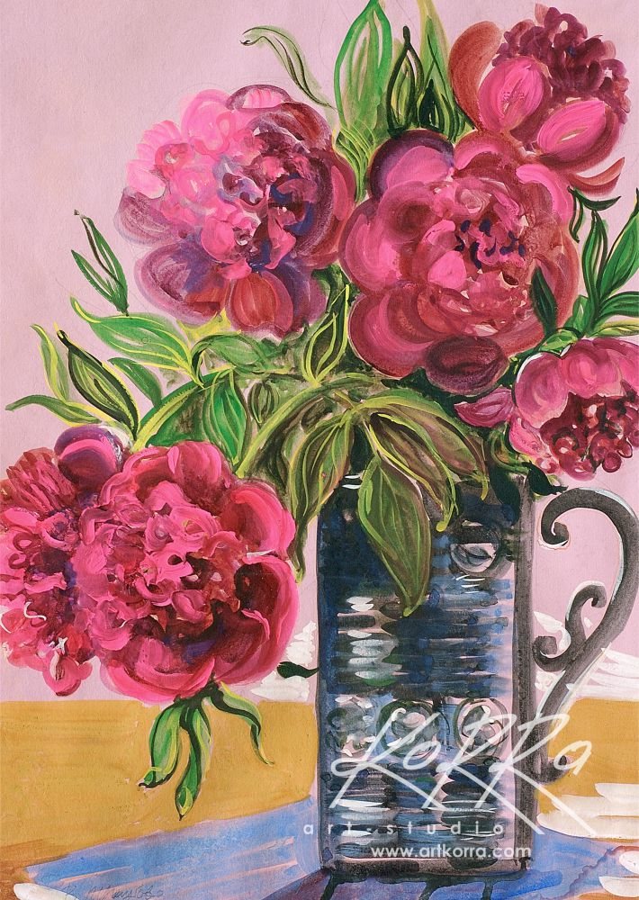 Tregubov Valentine, Pink Peonies, 1978, gouache, paper, 54x39 price on request