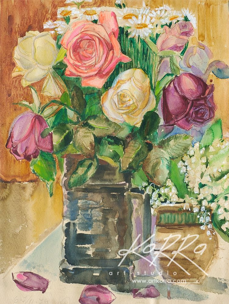 Tregubov Valentine, Roses and Lilies, 1974, watercolors, pastels, paper, 45х34 price on request
