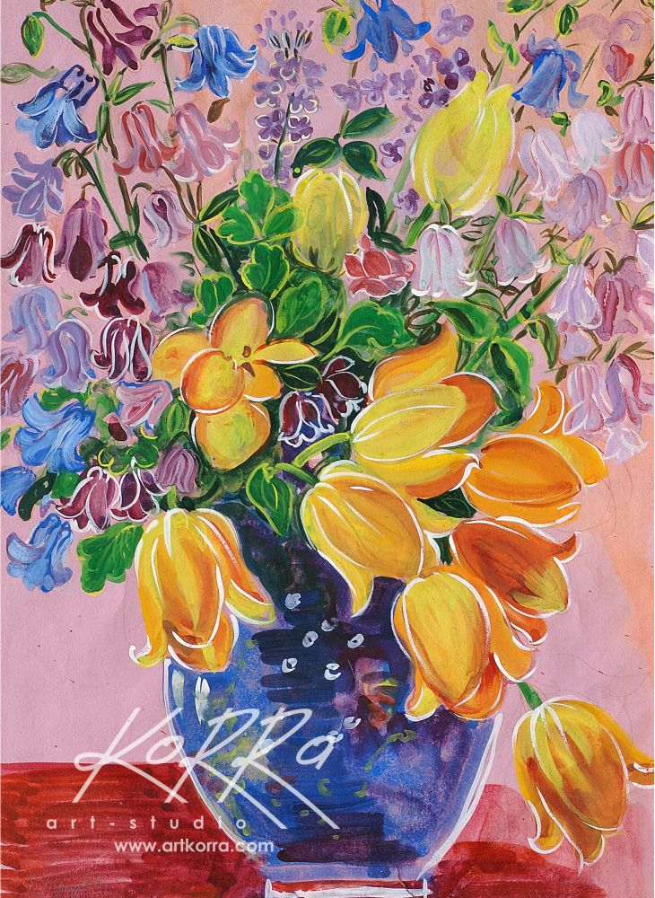 Tregubova Valentine, Tulips and aquilegias, 1978, gouache, paper, 54x39 price on request