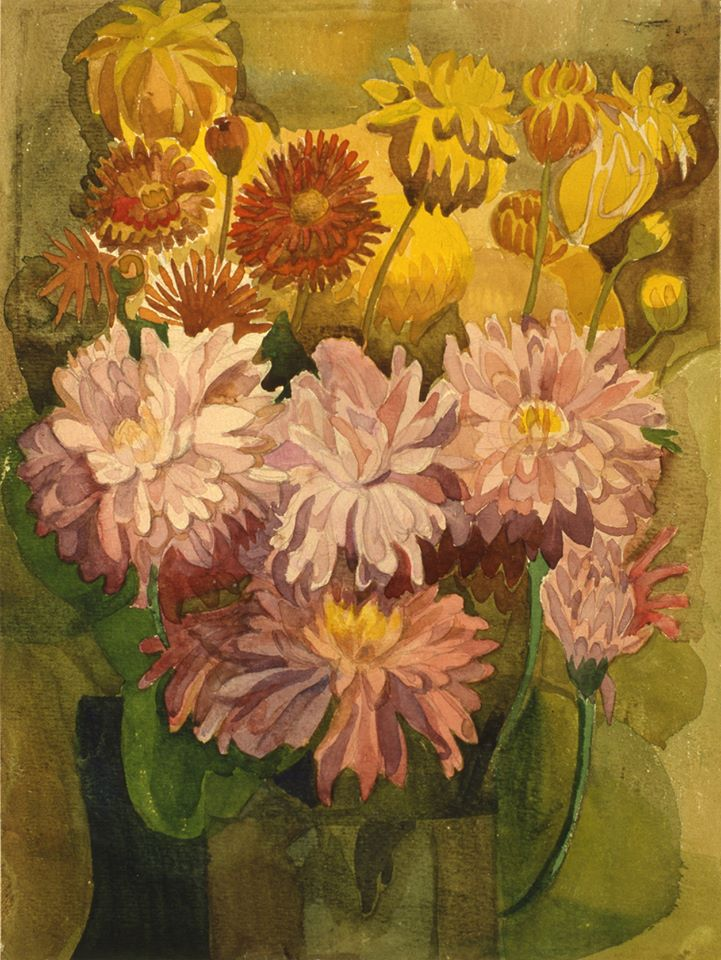 Tregubova Natalia, Chrysanthemums in a vase 1977, watercolor, paper, 32 x 24