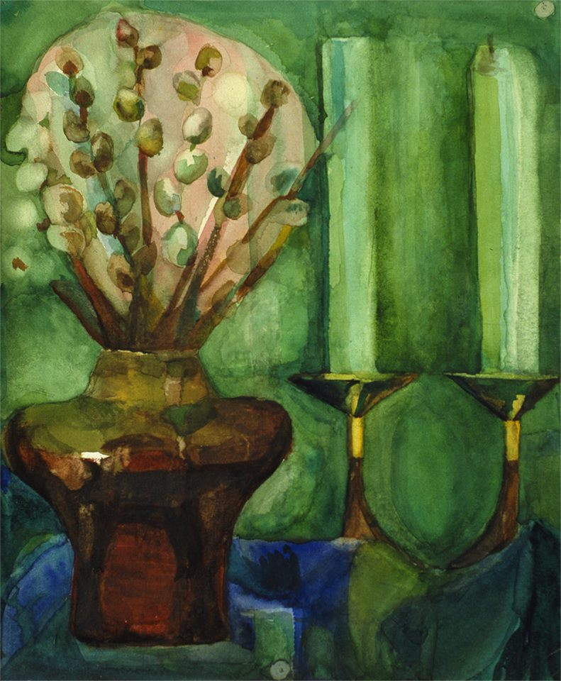 Tregubova Natalia, Kitty and candles 1978, watercolor, paper, 35 x 29.5