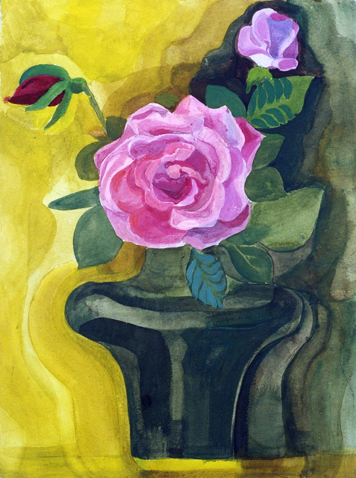 Tregubova Natalia, Pink Rose, 1980, watercolor, paper, 32 x 24